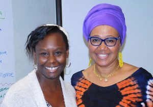 Shafia Monroe with midwife student at a cultural competency training
