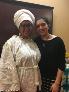 Shafia Monroe with a student in the Full Circle Doula class